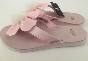 ca6465552b1 Womens Ugg Poppy Sheepskin Pom Pom Thong Sandals Shoe Flip Flop Size ...