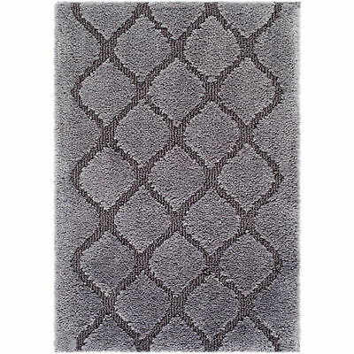 """Bath Rug Collection Made Here Fret Pattern 20/"""" x 30 Charcoal Color Lavender Ros"""