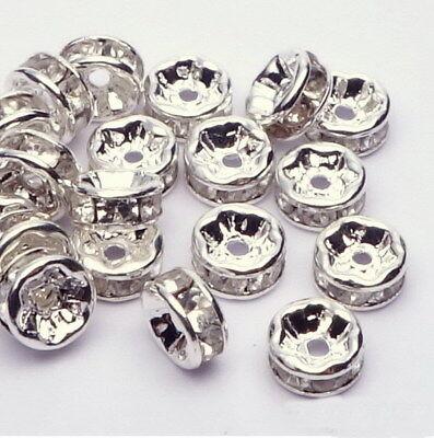 20-100 Metallperlen Spacer Zwischenperlen Strass Rhinestone rosegold gold silber