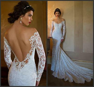 Berta Like Mermaid Wedding Dress Lace Long Sleeve Sheer,Reg $349.00 Sale $299.00