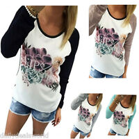 Women's Long Sleeve Tops Blouse Casual Loose Shirt Floral Print Cotton T-Shirt