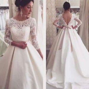 White-Ivory-Bolero-Wedding-Bridal-Jacket-3-4-Sleeve-V-Back-Top-Lace-Wraps-Custom