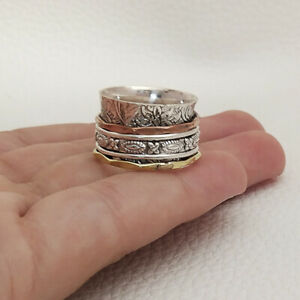 Solid-925-Sterling-Silver-Spinner-Band-Ring-Meditation-State-All-Size-MK-363