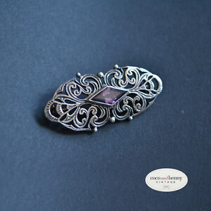 Vintage-Decorative-St-Silver-with-Amethyst-BROOCH