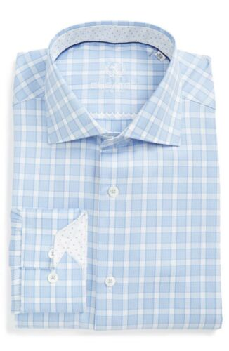 Bugatchi  Mens Trim Fit Check Dress Shirt NWT 16