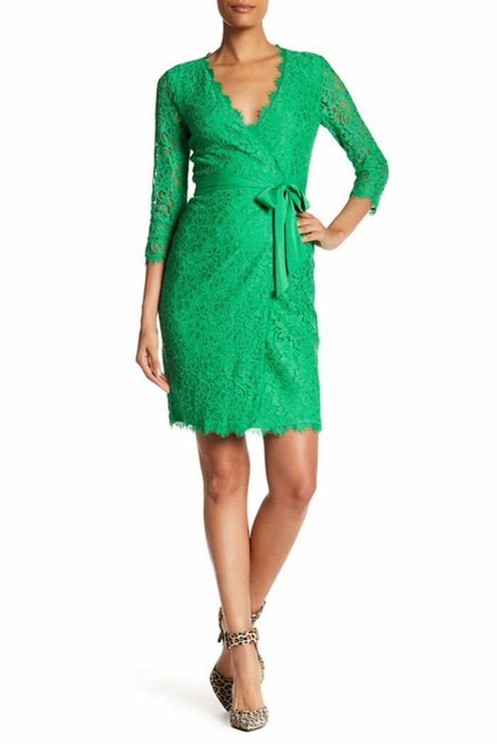 NWT Diane von Furstenberg Julianna Spring Green Lace Wrap Wrap Wrap Dress 8  498 7ef29c