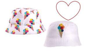 Kids summer hats boys girls sun bucket hat holiday beach ice cream ... 97974f3b76d