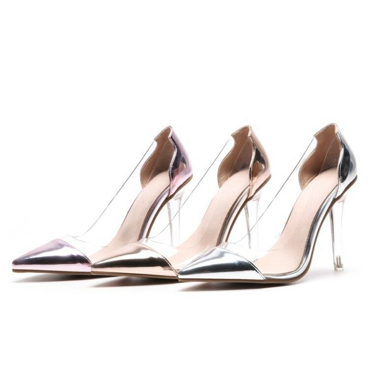 Ladies Pointed Toe shoes Synthetic Leather High Heels Pumps Sandals UK Size S902