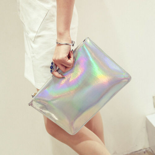 Holographic Laser Metallic Shine Handbag Messenger Bag Envelope Clutch EveningBL