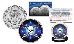 SKULL-Official-Legal-Tender-JFK-Kennedy-Half-Dollar-US-Coin-Pirate-Swords-Black