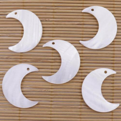 """5 PCS Natural Moon Shell White Mother of Pearl Charms Pendants 30mmX35mm 1.38"""""""