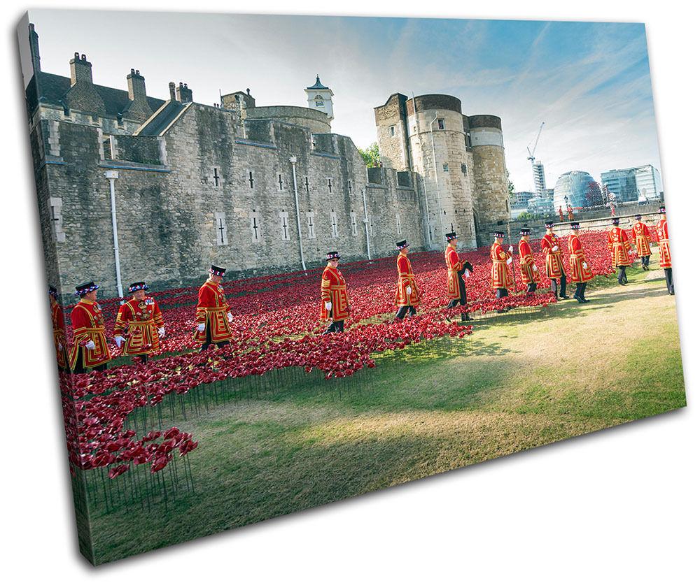 Tower of London Poppies City SINGLE TELA TELA TELA parete arte foto stampa ffeafe