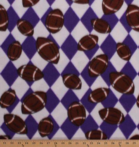 Footballs on Purple White Argyle Check Sports Fleece Fabric Print BTY A409.31