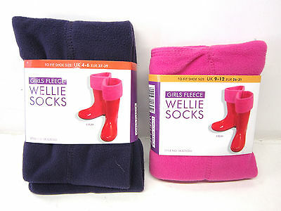 Girls RJM fleecey wellie socks SK305CDU 100/% polyester pink or purple