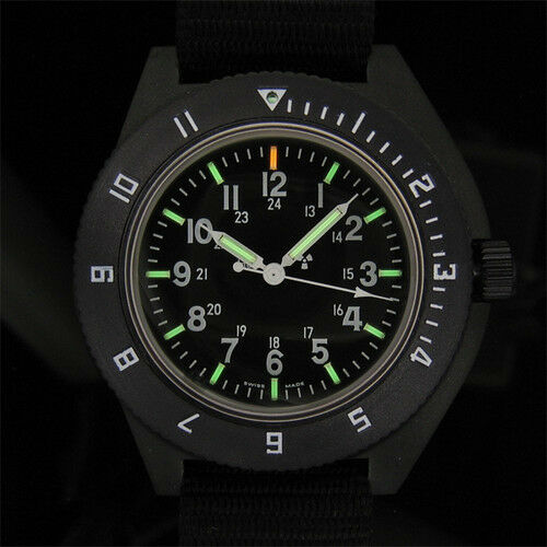 US Militär Ausgabe Pilot Navigator Aviation sterile Dial Watch Marathon NEU H3