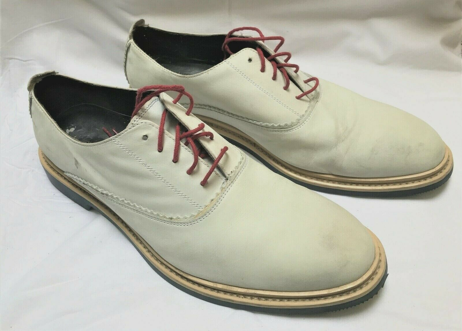 GREAT MEN COLE HAAN LEATHER NIKEAIR COMFORT SHOES OFF WHITE SIZE  10 M