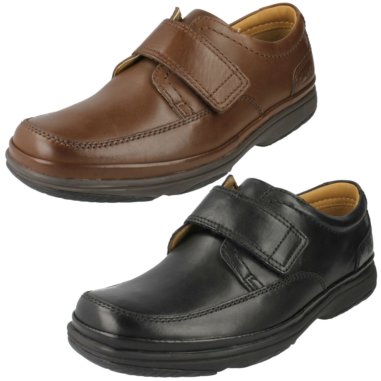 Herren CLARKS SWIFT TURN LEATHER LIGHTWEIGHT EXTRA WIDE CASUAL RIPTAPE Schuhe
