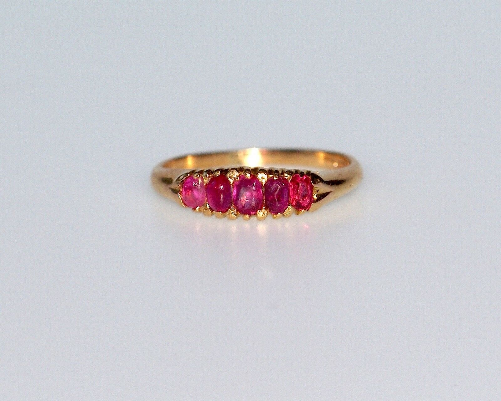 18CT gold VICTORIAN RUBY RING SIZE L.75 FULLY HALLMARKED MAKE ENG WORK OF ART