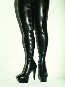 Black Latex Rubber High Boots Size 6 16 Heels 6 1 15cm Bolingier Poland Ebay