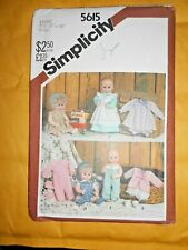 Simplicity 5615 Baby Doll Wardrobe Clothes Outfits Uncut Pattern Large 17 18