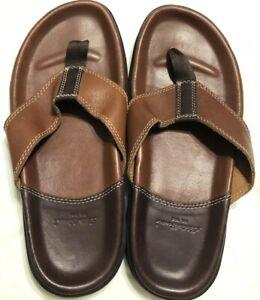 843eddc8c1d3 Eddie Bauer Flip Flops Thongs Men Sz 9 Slip On Shoes Leather EUC 10 ...