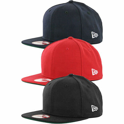 4f21ae682 New Era 9Fifty Plain Blank Snapback Hat Original Uniform Cap Black Navy Red    eBay