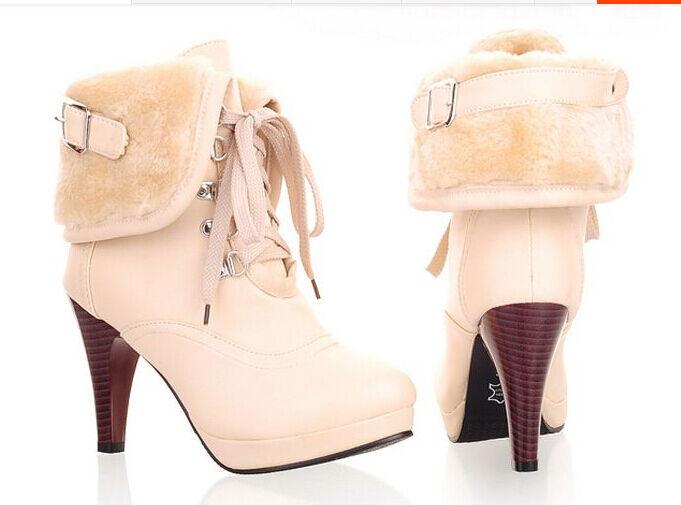 Botines botas moda mujer tacón de aguja 9 cm código 8006 color albaricoque