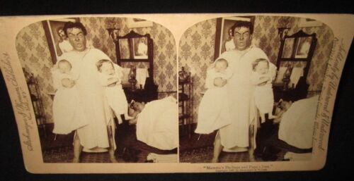"""MAMMA'S DARLINGS AND PAPA'S JOYS"" 1897 Stereoview man holding children in arm"