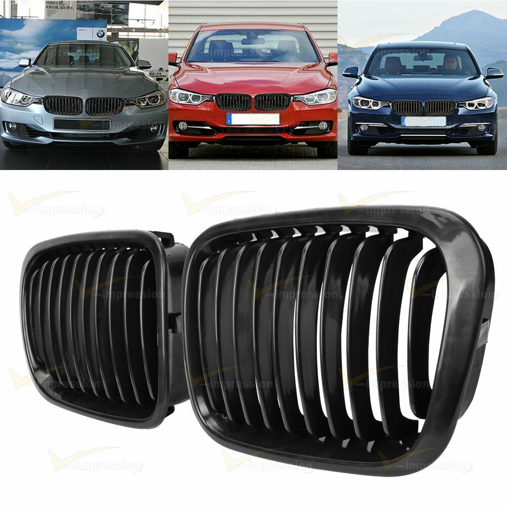 2x Front Replacement Glossy Black Kidney Grille Fit 98-01