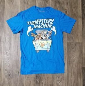 Mens-Scooby-Doo-and-The-Mystery-Machine-Blue-Green-White-T-Shirt-Size-M