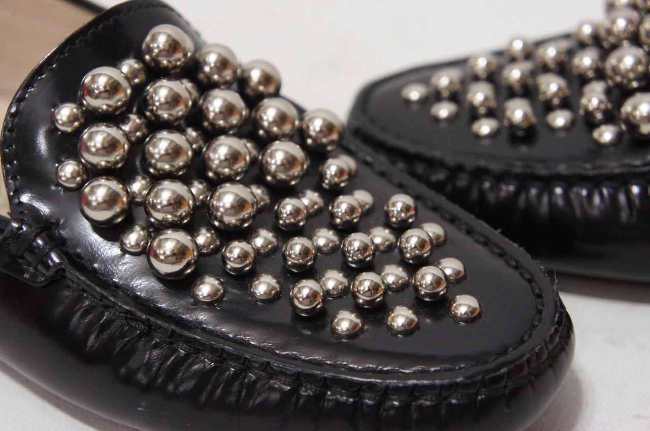 Tod'S zapatos Con Tachas Negro Cuero Mocasín controladores Mocasines zapatos Tod'S 35.5/5.5 b0cee0