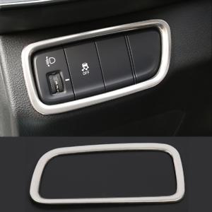 Matte silver metal Headlight Switch Decorative Frame Trim For 2019 Hyundai Santa
