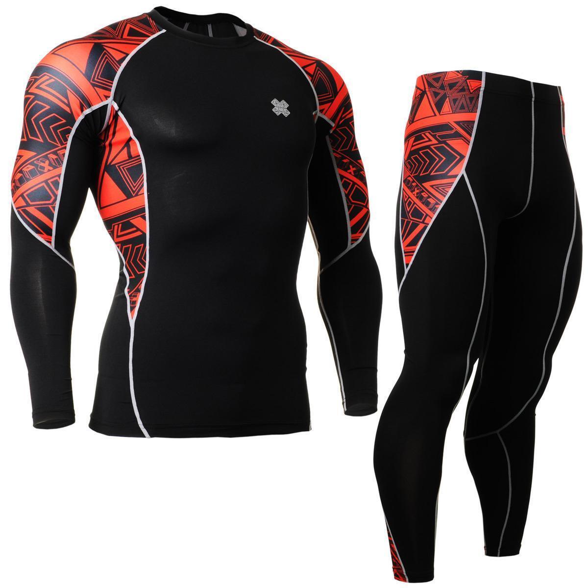 FIXGEAR C2L/P2L-B2 Compression Shirts & Pants Set Sportswear MMA Training Gym