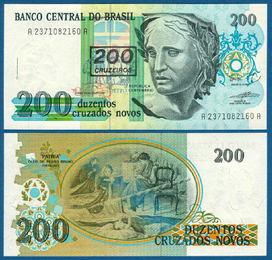 BRASILIEN / BRAZIL 200 Cruzeiros (1990) UNC P.225 b