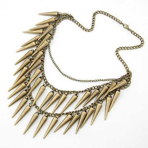 Collier Punk Gothique Fashion rivet style antique Bronze