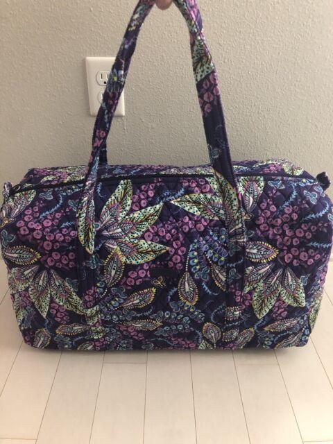 Vera Bradley LARGE DUFFEL Travel Bag Tote BATIK LEAVES Purple NEW w/ Tags