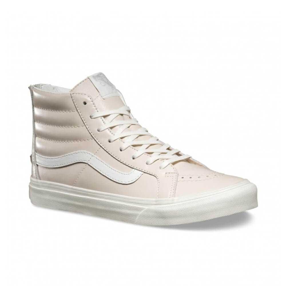 VANS Sk8 Hi Slim Zip (Leather) Whispering Pink/Blanc de Blanc WOMEN'S 7