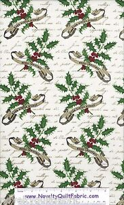 Joyeaux-Noel-Christmas-Holly-Sprig-E-2988-44-StudioE-Cotton-Quilt-Fabric-BTY