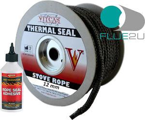 Black stove rope 12mm x 2m length glue kit wood log for 14mm stove door rope