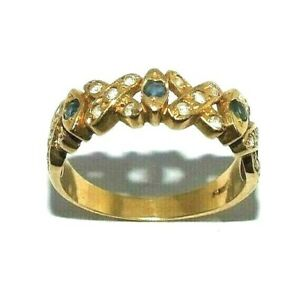Ladies Womens Ornate 18ct Yellow Gold Ring Set With Gemstones Uk Size R 1 2 Ebay