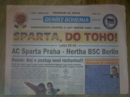 Programme AC Sparta Prague Hertha BSC Berlin 19992000 Champions League