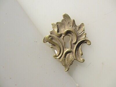 Antique Brass Escutcheon Keyhole Plate Victorian Old Hardware Rococo Baroque