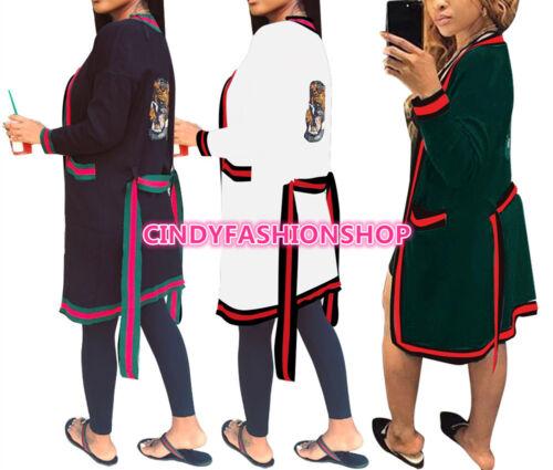USA Women Fashion Long Sleeve Sequined Tiger Head  Open Stitch Cloak Surcoat (A