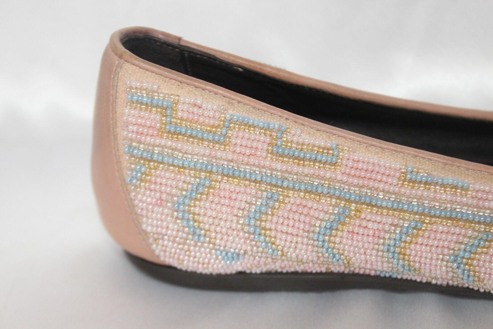 Donald J Pliner bluesh Pink Multi Aztec Beaded Beaded Beaded HASIN Ballet Flats Sz 6  325 51d1b9