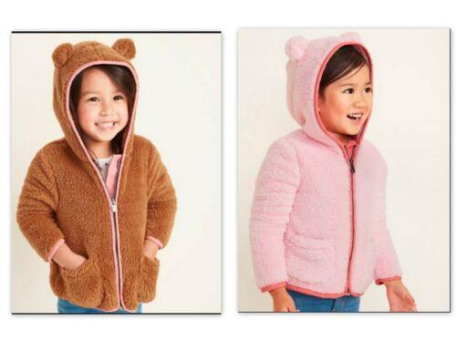 NEW Gap OLD NAVY Faux-Fur Critter Zip Hoodie Pink Toddler Girls 18-14m