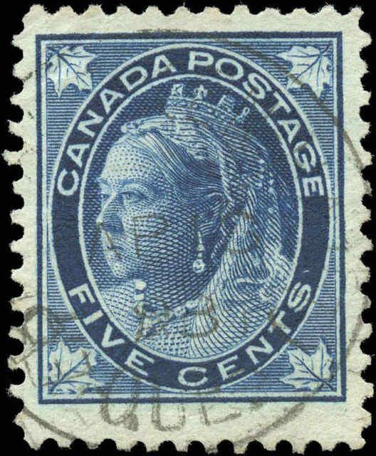 1897 Used Canada F+ Scott #70 5c Maple Leaf Issue Stamp