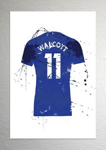 sale retailer 0a0f1 ccb94 Details about Theo Walcott - Everton Football Shirt Art - Splash Effect -  A4 Size