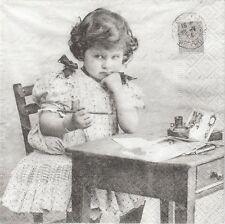 2 Serviettes en papier Fillette bureau Sagen Vintage Paper Napkins Girl Writing