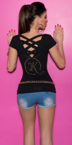 Koucla Shirt Top T-Shirt mit Strass und Nieten