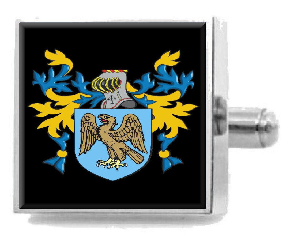 Middlebrook Inghilterra ARALDICA STEMMA argentoo Sterling Gemelli incisi BOX BOX BOX e96d1e